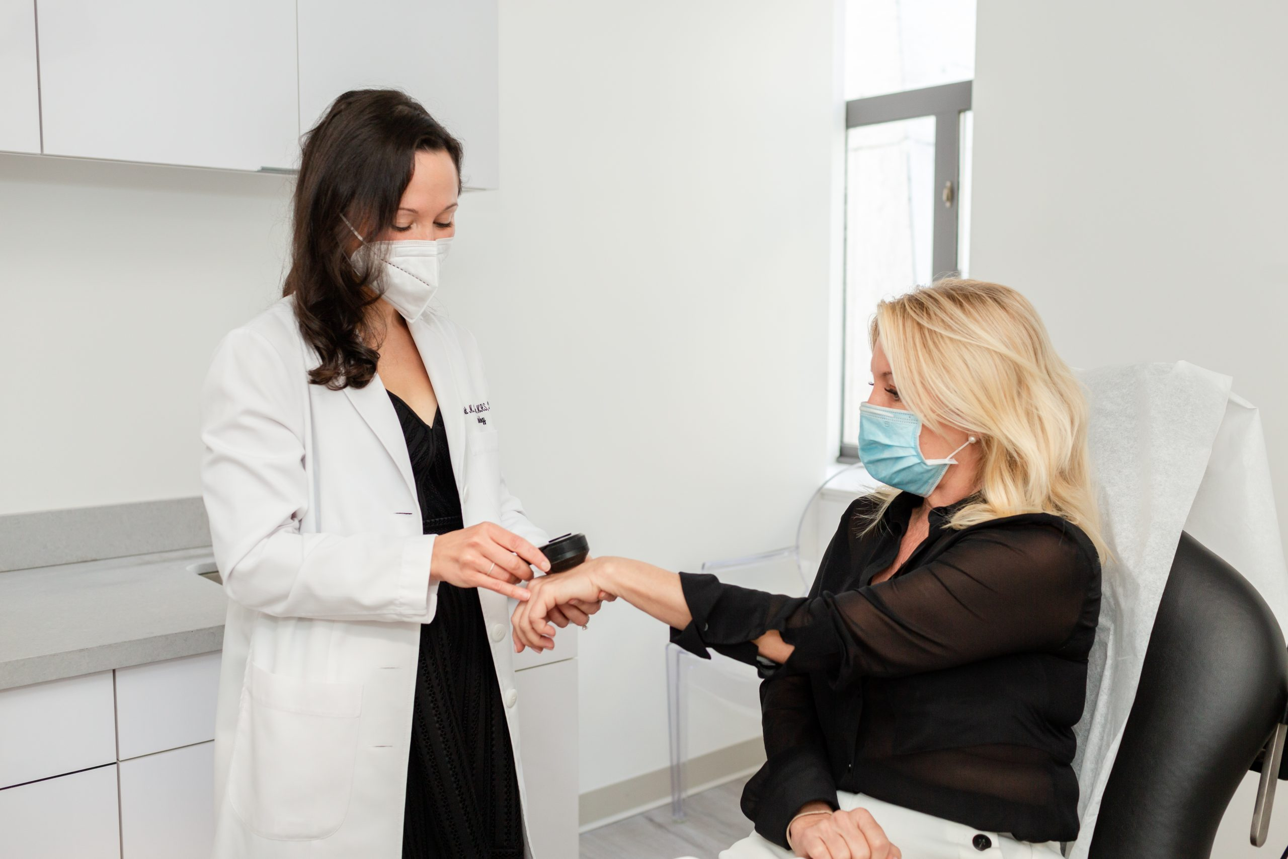 Dermatologist consulting a female patient, New York, NY
